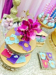 Cute cookies at a Princess Jasmine baby shower party! See more party ideas at CatchMyParty.com!