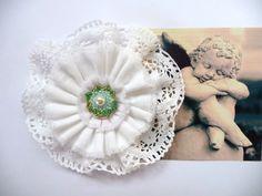 Shabby Blume Vintage Nostalgie Hippie romantisch Spitze gehäkelt Handarbeit