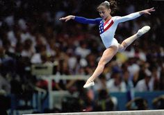 Dominique Moceanu, as she is the youngest gymnast of the team that won Gold for the United States at the Atlanta Olympics in 1996. - Mike Powell/Getty Images