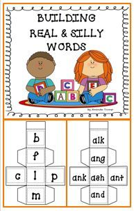 FREEBIE--This activity gives your students practice recognizing simple word patterns and becoming more fluent readers. These blocks include: Kindergarten Reading Activities, Reading Resources, Kindergarten Teachers, Teacher Resources, Reading Worksheets, Interactive Activities, Classroom Resources, Silly Words, Nonsense Words