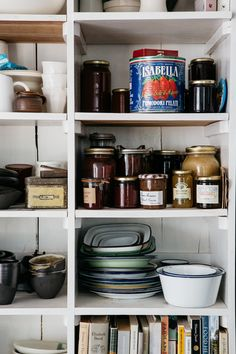 A few of our favorite things: jars, cookbooks, and bowls.