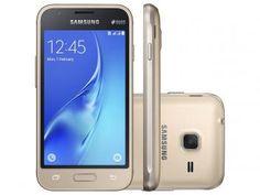 "Smartphone Samsung Galaxy J1 Mini 8GB Dourado - 3G Dual Chip Câm. 5MP Tela 4"" Proc. Quad Core"