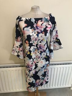 Beautiful Black Bardot Neckline Long Sleeves Floaty Mini Dress Size 12 to 18
