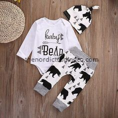 """Another adorable baby coming home set. This set is all for the Baby Boy Bear. Hip calligraphy on the front of the onesie says """" baby bear """" , trendy Black Bear graphics on hat, top and pants. Newborn Boy Clothes, Baby Outfits Newborn, Baby Girl Newborn, Baby Boy Outfits, Baby Girls, Babies Clothes, Baby Bear Outfit, Romper Long Pants, Baby Jumpsuit"""