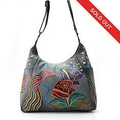 712-420 - Anuschka Hand-Painted Leather Zip Top Dual Side Pocket Shoulder Bag