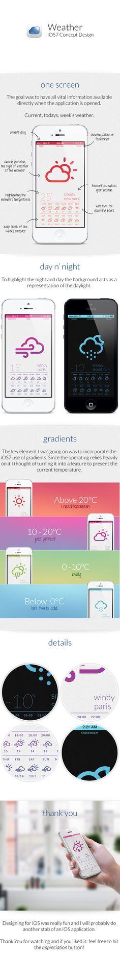 Weather Concept Design by Markus Waltré, via Behance Ios 7 Design, Mobile Ui Design, Flat Design, Weather Application, User Experience Design, Ui Design Inspiration, User Interface Design, Apps, Service Design
