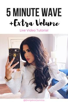I get loose waves + volume in 5 minutes! No special editing or anything so you are literally getting ready with me LIVE... 1″ Wand, base for wand, heat spray, teasing spray, texture and volume spray, shine oil, shine spray, dry shampoo.