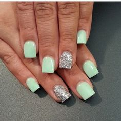 Light green and silver nails