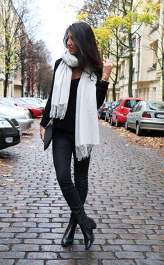 Keeping it casual in grey and black on these autumn days in Berlin. Love this cozy grey scarf. http://notyourstandard.com/the-scarf/