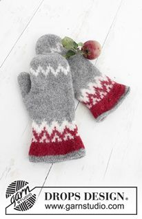 Festive Foraging - Knitted and felted mittens with Nordic pattern for Christmas in DROPS Lima. - Free pattern by DROPS Design Crochet Mittens, Mittens Pattern, Knitted Gloves, Crochet Pattern, Crochet Hooks, Free Pattern, Drops Design, Knitting Charts, Knitting Patterns Free