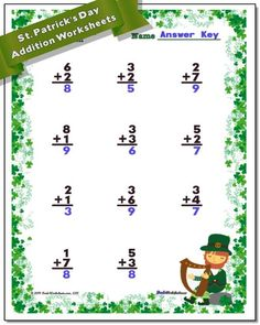 These St. Patrick's Day worksheets for color-by-number, addition, subtraction, multiplication and division math problems in printable PDF format will sweeten up your math practice for March! Multiplication And Division Worksheets, First Grade Math Worksheets, Addition And Subtraction Worksheets, Free Printable Math Worksheets, Number Worksheets, Second Grade Math, Fourth Grade, Division Math Problems, Math Division