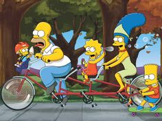simpsons tandem bike cartoon - for more bike art see http://www.pinterest.com/deyzel/group-bicycle-art-%2B-recycled-bike-bits/