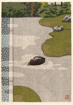 Zen.  IDO, Masao (1945-). Garden. Original Japanese woodblock print, signed in pencil by the artist. Edition number 73 of 150, 1987.