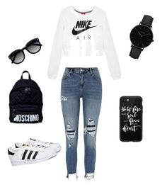 """Untitled #4"" by dialove93 on Polyvore featuring NIKE, River Island, adidas, Ace, Casetify, CLUSE and Moschino"