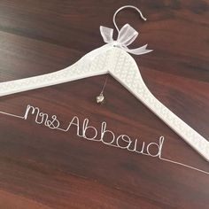 Elegant wedding hanger; personalised name hangers; mrs name hangers; wedding coat hangers by Bridal Bling Australia; www.bridalbling.com.au