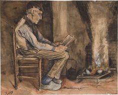 Lezende man bij de haard, Vincent van Gogh, 1881.