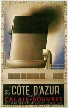 SS. Côte D'Azur. Calais-Douvres | Retro advertising | Vintage poster #Affiches #Retro #Vintage #Ads #Adverts #SXX #deFharo #Publicidad #Posters