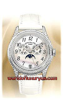 4937G -  This Patek Philippe Complicated Ladies Moon Phase Diamond watch features a 37mm white gold case, white mother-of-pearl dial, case and crown set with 445 diamonds (~2.86ct), Arabic numeral hour markers, scratch resistant sapphire crystal, fixed bezel, and a white crocodile leather strap with a buckle set with 27 diamonds (~0.20ct). - See more at: http://www.worldofluxuryus.com/watches/Patek-Philippe/Complicated-Collection/4937G/46_55_192.php#sthash.o4mh7UT8.dpuf
