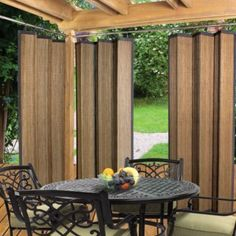 Easy Glide Indoor Outdoor Patio Bamboo Ring Top Window Curtain Panel Espresso in Home & Garden, Window Treatments & Hardware, Curtains, Drapes & Valances Outdoor Gazebos, Outdoor Privacy, Indoor Outdoor, Outdoor Living, Outdoor Decor, Privacy Wall On Deck, Balcony Privacy, Outdoor Ideas, Gazebo Curtains