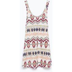 Zara Ethnic Print Dress ($13) ❤ liked on Polyvore