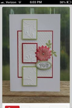"Beautiful Embossed ""Just For You"" Card.Kraftikat - Cards and Paper Crafts at Splitcoaststampers.~~~>Great way to use up scraps tooo. Embossed Cards, Card Sketches, Sympathy Cards, Paper Cards, Flower Cards, Cool Cards, Creative Cards, Greeting Cards Handmade, Scrapbook Cards"