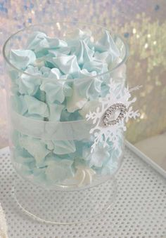 Pretty blue meringues at an Elegant Frozen girl birthday party!  See more party planning ideas at CatchMyParty.com!