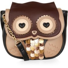 Accessorize Owl Across Body Bag ($44) ❤ liked on Polyvore featuring bags, handbags, shoulder bags, beige handbags, owl cross body purse, feather purse, crossbody handbags and owl crossbody purse