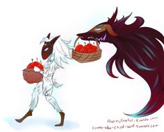 Kindred - Lamb and Wolf League Of Legends Characters, Lol League Of Legends, Lambs And Wolves, Lol Champ, Creatures 3, Big Bad Wolf, Funny Comics, Anime Stuff, Videogames