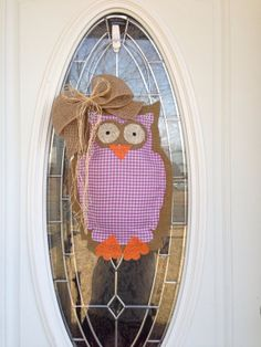 Owl Burlap Door Hanger by SavvySweetBoutique on Etsy,