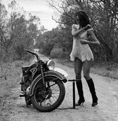 1970s, motorcycle, things I dream about, flat tire, white dress skirt, boots, tan brunette, dirt roads, no one around, in love.