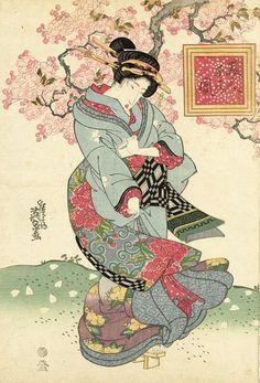 Schoonheden in een lente storm, Keisai Eisen op canvas, behang, poster en meer Japanese Artwork, Japanese Painting, Japanese Prints, Geisha Kunst, Geisha Art, Oriental, Japanese Animated Movies, Japanese Poster Design, Neko