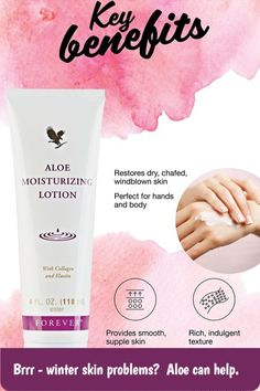 Winter skin challenges: - Wind - Cold - Central heating Aloe moisturizing lotion penetrates the skin to help keep it hydrated and plumped up, smooth and supple. Use daily to combat the drying effects of winter weather. Forever Living Company, Aloe Vera Skin Care, Forever Aloe, Forever Living Products, Natural Beauty Tips, Skin Care Treatments, Skin Cream, Skin Problems, Body Lotion