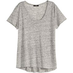 H&M Linen T-shirt $12.99 ($13) ❤ liked on Polyvore featuring tops, t-shirts, h&m, grey linen top, grey top, gray tees, grey t shirt and jersey top