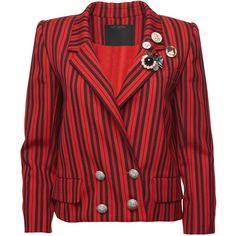 Striped Wool Blazer ($2,400) ❤ liked on Polyvore featuring outerwear, jackets, blazers, cropped jacket, cropped blazer, wool blazer, red jacket and red cropped jacket