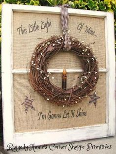 "Primitive window in distressed white w/twiggy wreath, homespun, pip berries and flickering candle. ""This Little Light of Mine... I'm Gonna Let it Shine"". *Stars. by bbooky"