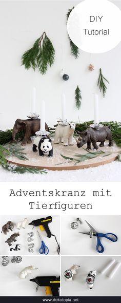 DIY Anleitung: Tierparade statt Adventskranz! Bastel Kerzenhalter aus Tierfiguren