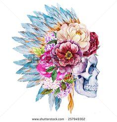 bull skull watercolor - Google Search