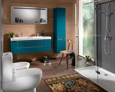 Teal cabinets with the earth tones! --- Vintage and Modern Bathroom Ideas Bathroom Furniture Design, Kids Room Furniture, Diy Bathroom Decor, Bathroom Colors, Bathroom Sets, Bathroom Interior Design, Small Bathroom, Colorful Bathroom, Chic Bathrooms