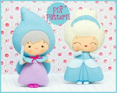 PDF. Cinderella and the fairy godmother. Fairy tale pattern. Plush Doll Pattern, Softie Pattern, Soft felt Toy Pattern. via Etsy