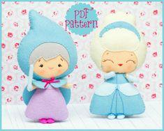 PDF. Cinderella and the fairy godmother. Fairy tale pattern. Plush Doll Pattern, Softie Pattern, Soft felt Toy Pattern. via Etsy