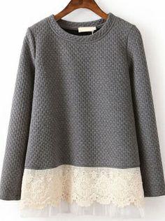 Women Casual Grey Long Sleeve Contrast Lace Loose Sweatshirt  $46.84 www.clothesway.net