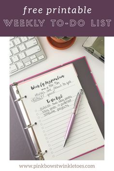 Free productivity printable - weekly to-do list printable for A5 planners and mini binders - weekly inspiration and to-do list printable - free PDF download