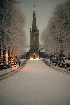"Winter time #snow "" christmasaroundtheworld: Hillsborough Parish Church at Night (in WInter) (by {Flixelpix} David) """