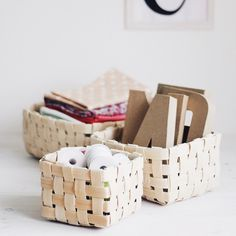 I'm in the process of making as many of these easy woven baskets as I can. Need to organise!