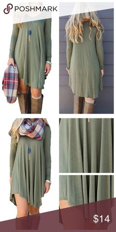 T SHIRT DRESS OLIVE/ARMY GREEN Long Sleeve Casual Loose V-Neck T-Shirt Dress. Flowing asymmetrical hem. V-Neck, long sleeve, casual style, lightweight. Can be dressed up or down. Enjoy! Dresses Asymmetrical Olive Green Dresses, Dress Up, Shirt Dress, Asymmetrical Dress, Army Green, Fashion Tips, Fashion Design, Fashion Trends, V Neck T Shirt