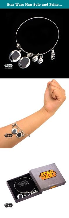 """Star Wars Han Solo and Princess Leia """"I love you. I know"""" Expandable Charm Bracelet. Women's Stainless Steel Star Wars Han Solo and Princess Leia """"I love you. I know"""" Charm Expandable Bracelet. Licensed Jewelry Box Included. Dimension: 7 1/2"""" (Length) x 1/16"""" (Width) x 1/16"""" (Height)."""
