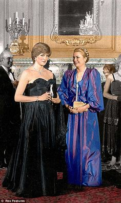 March 9, 1981: Lady Diana Spencer making her first official appearance with Princess Grace at a gala evening at Goldsmith's Hall to raise funds for the Royal Opera House.