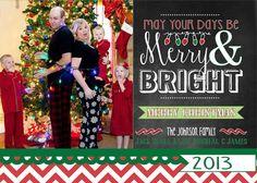 Merry & Bright Chevron Chalkboard Digital by LaLoopsieInvites, $9.95