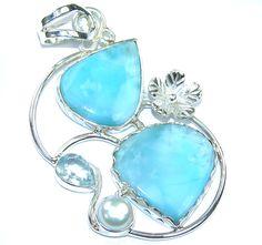 $59.15 Tropical+Glow!+AAA+Blue+Larimar+&+Fresh+Water+Pearl+&+Swiss+Blue+Topaz+Sterling+Silver+Pendant at www.SilverRushStyle.com #pendant #handmade #jewelry #silver #larimar