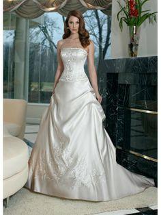 Satin A-Line Strapless Straight Neckline Embroidered Bodice Wedding Dress